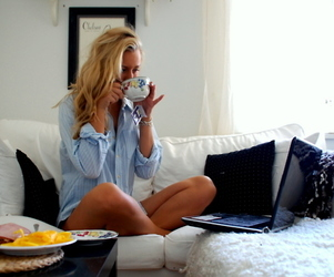 girl, style, and coffee image