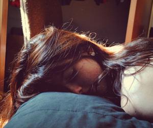 girl, hair, and sleep image