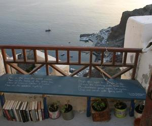 bench, books, and Greece image