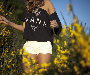 fashion, vans, and flowers image