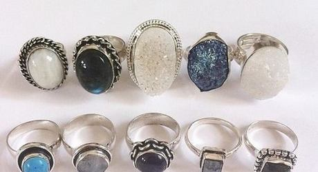 dark blue, rings, and silver image