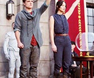 the hunger games, peeta, and katniss image