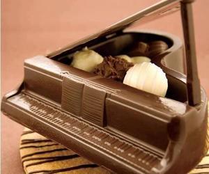 chocolate, piano, and sweet image