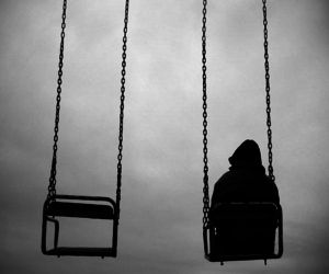 alone, black and white, and sad image