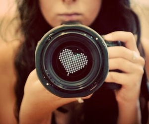 girl, heart, and camera image