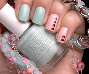 mint green, nails, and peach image