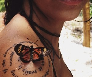 butterfly, girl, and tattoo image