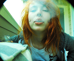 piercing, girl, and smoke image