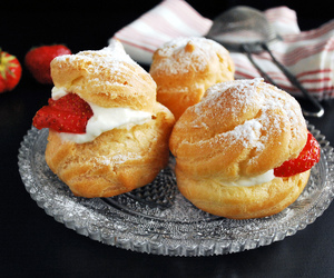 bakery, cream puffs, and delicious image