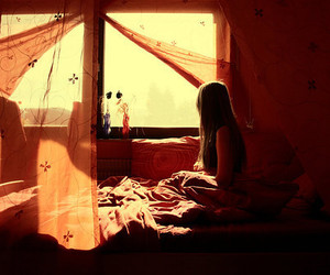 bed, pretty, and girl image