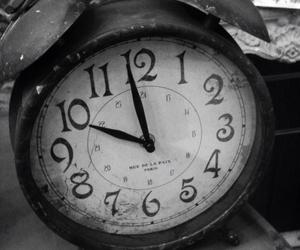 black and white, clock, and creative image