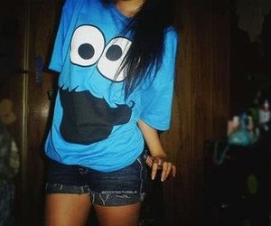 girl, blue, and cookie monster image