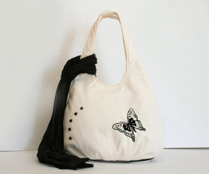 bag, embroidery, and butterfly image