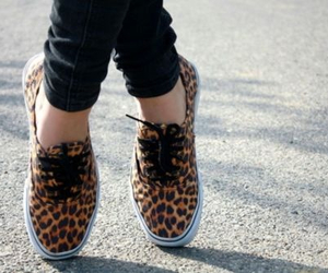 vans, shoes, and leopard image