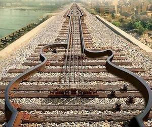 guitar, music, and train image
