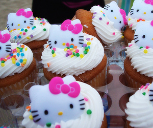 cupcake, hello kitty, and food image