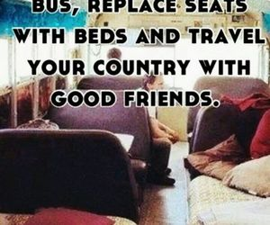 friends, travel, and bus image