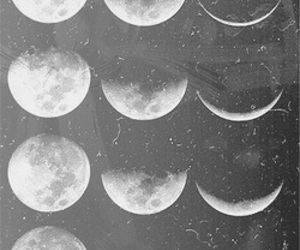 moon, black and white, and night image