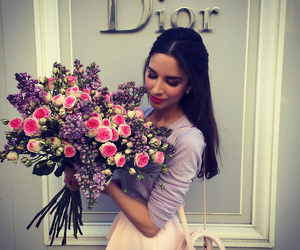 flowers, dior, and girl image