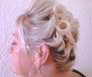 hairdressing, hairup, and blonde image