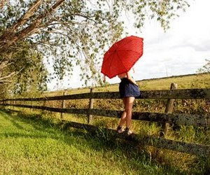 girl, umbrella, and nature image