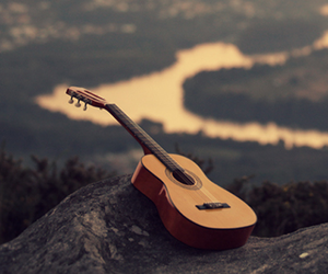 guitar, music, and nature image