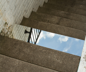 stairs, mirror, and sky image