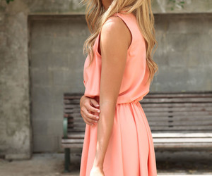 apricot, blonde, and dress image