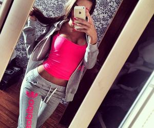 girl, pink, and adidas image