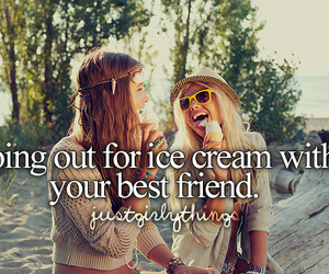 best friends, ice cream, and summer image