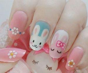 nails, pink, and bunny image