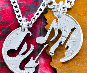 music note, guitar necklace, and music note necklace image