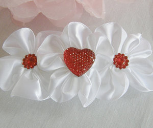 white headband, baby girl headband, and red heart headband image