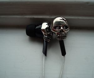 skull, music, and black image