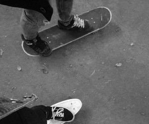 black and white, perfect couple, and skateboard image