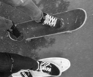 black and white, perfect couple, and ride image