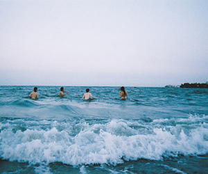 sea, beach, and friends image