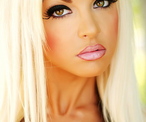 blonde, lip pen, and sexy image
