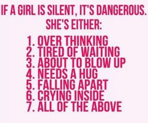 danger, watch your back, and girl silence image