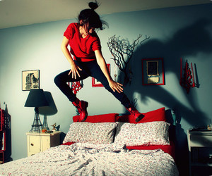 girl, red, and bed image