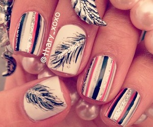 nails, feather, and pink image