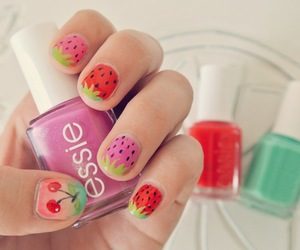 nails, strawberry, and essie image