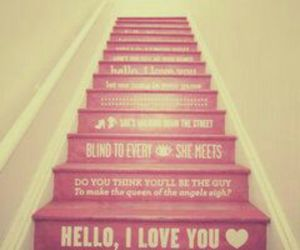 pink, treppe, and sprüche image