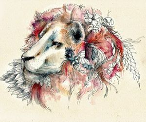 lion, art, and flowers image