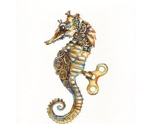 art, seahorse, and watercolor image