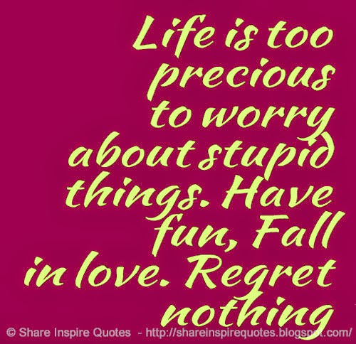 Life Is Too Precious To Worry About Stupid Things Have Fun Fall In