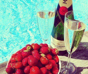 strawberry, champagne, and summer image