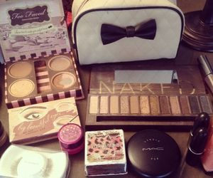 blush, bow, and cosmetics image