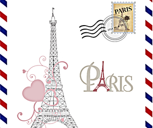 airmail, card, and eiffel image