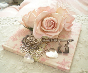 key, rose, and pink image